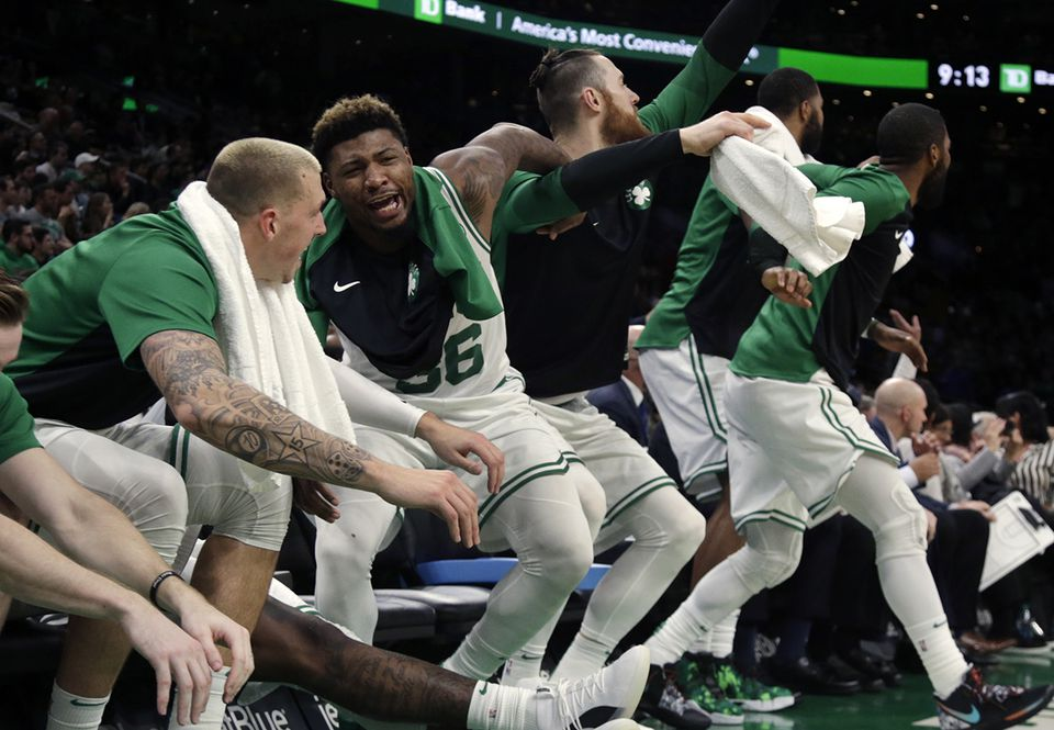 The Celtics bench was in a joyous mood during a lopsided win in Cleveland last week.