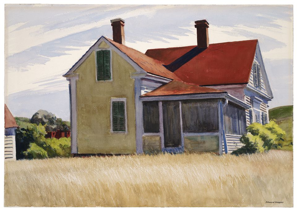"""Edward Hopper's """"Marshall's House"""" (1932) is on view in the exhibit """"American Moderns in Watercolor: Edward Hopper and His Contemporaries"""" at the Wadsworth Atheneum Museum of Art in Hartford."""