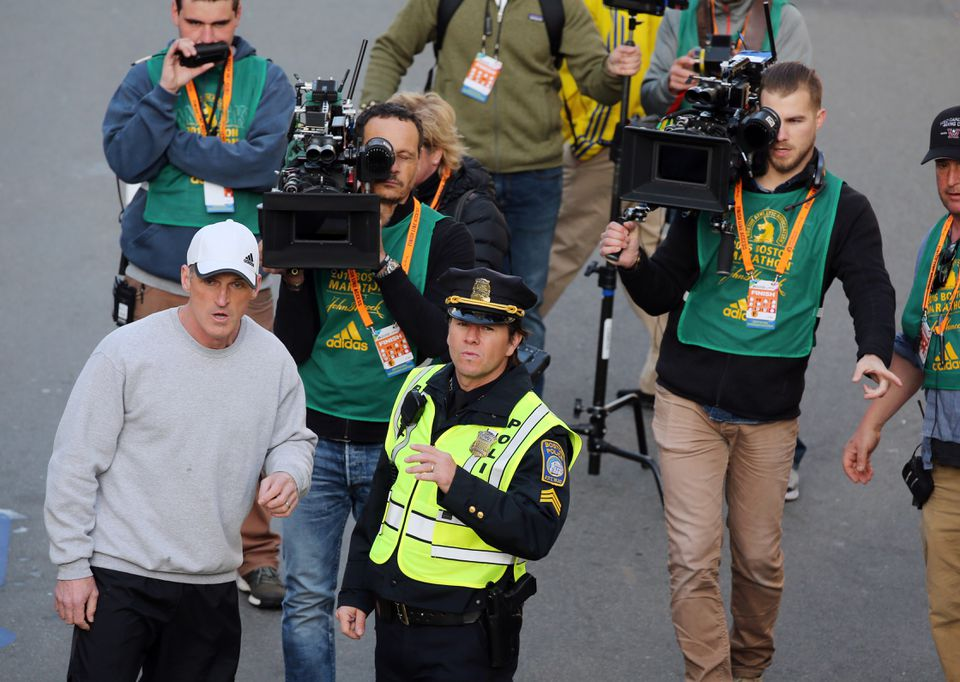 """Neither """"Patriots Day,"""" starring Mark Wahlberg (center), nor """"<a href=""""https://www.imdb.com/title/tt3881784/?ref_=nv_sr_1"""" shape=""""rect"""">Stronger</a>,"""" with Jake Gyllenhaal, did well at the box office."""