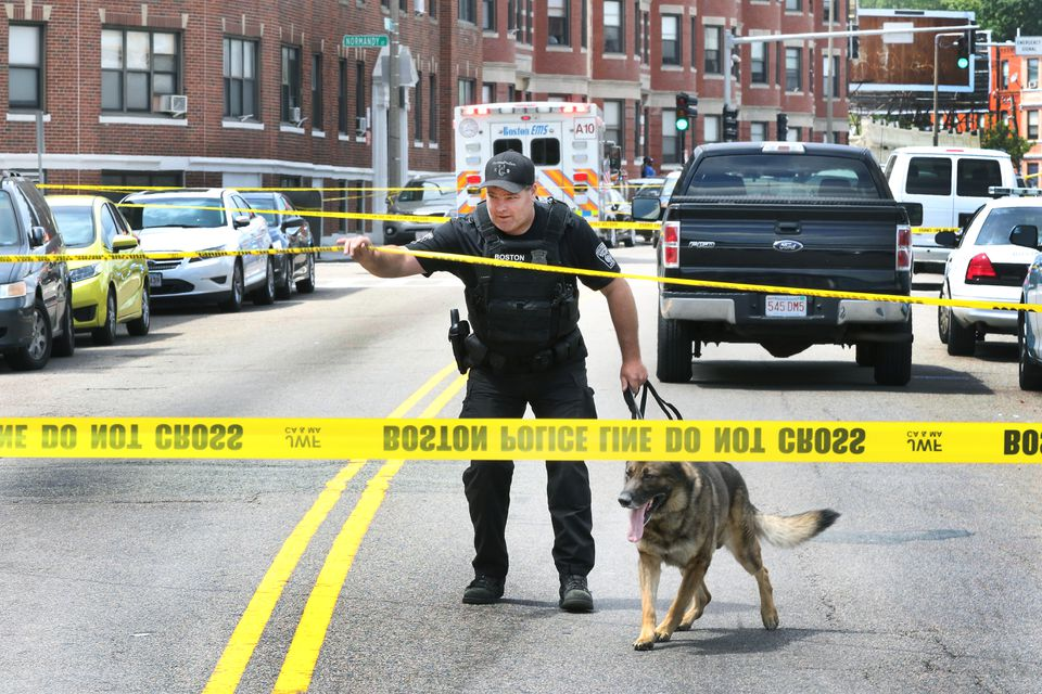 A quadruple shooting Wednesday near the Jeremiah Burke High School left a 17-year-old student dead.