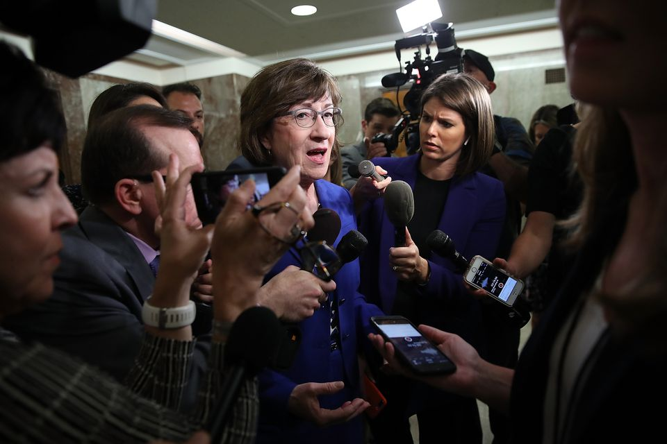 Senator Susan Collins answers questions from reporters about Supreme Court nominee Brett Kavanaugh on September 17, 2018.