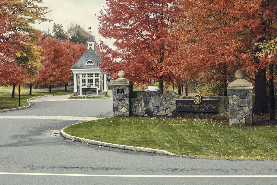 The entrance to the Trump National Golf Club in Bedminster, N.J.