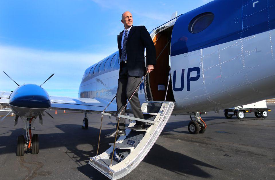 Wheels Up founder Bill Allard with a new Beechcraft 350i King Air turboprop.