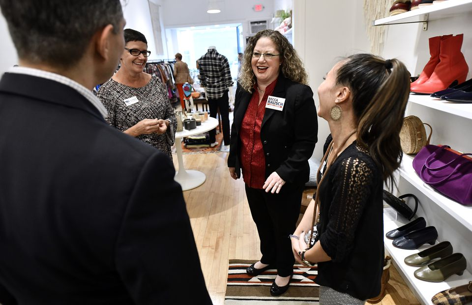Would-be senator Becca Rausch attended an event in Needham.