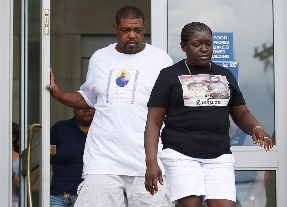 Raekwon Brown's parents left Dorchester District Court following the arraignment of suspects in their son's murder.