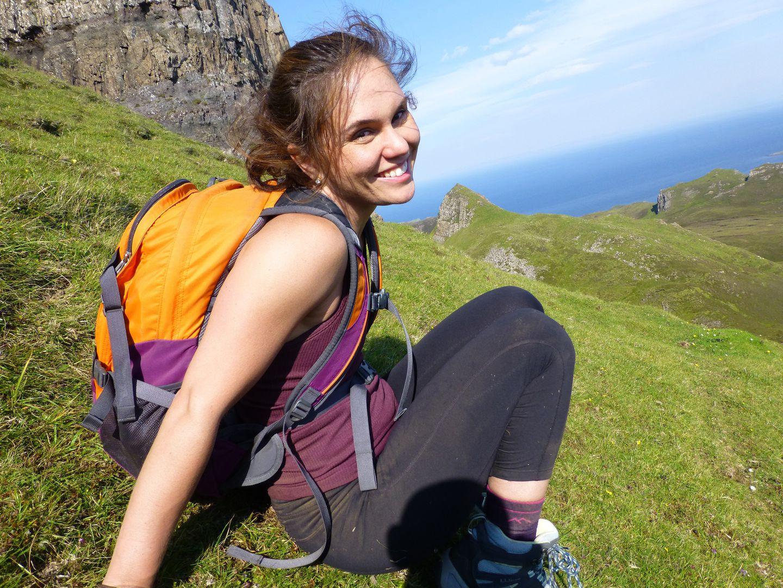 Laura backpacking across Scotland's Isle of Skye.