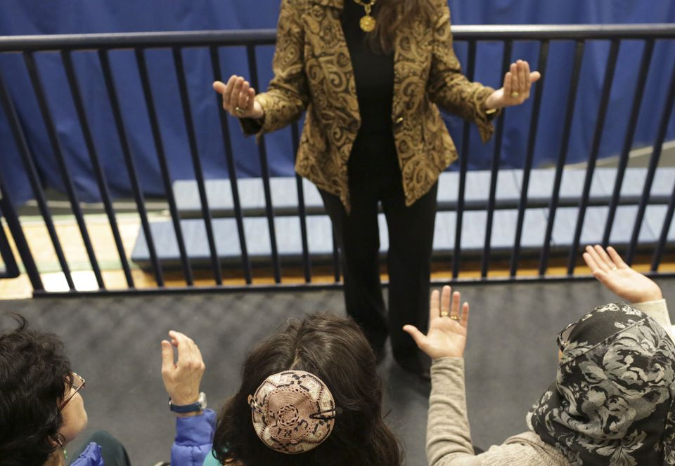 Jewish and Muslim women gathered at the Sisterhood of Salaam Shalom Leadership Conference at Drew University in Madison, N.J., on Sunday.