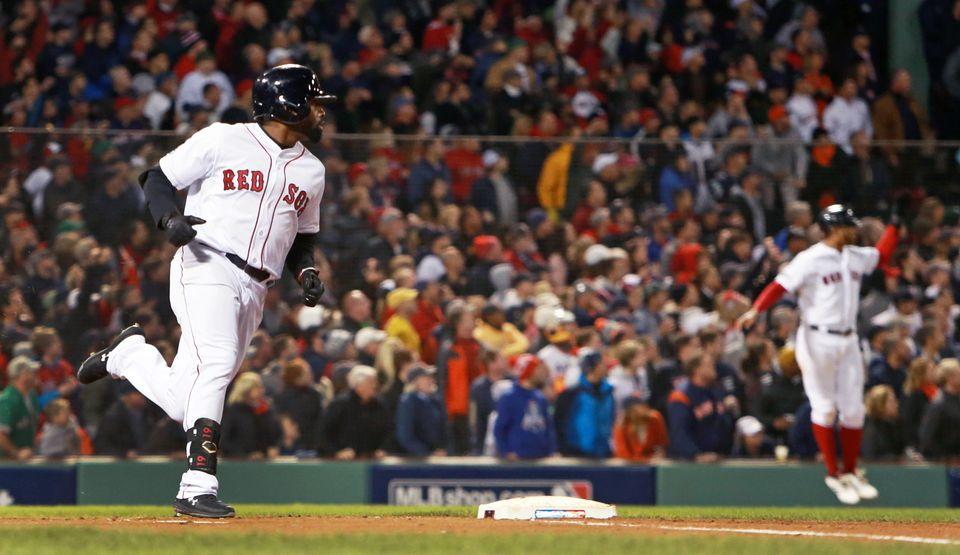 Jackie Bradley Jr. rounded first base on his way to second with a three-run double in the third inning.