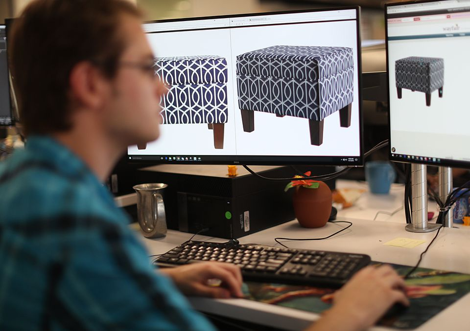 Jay deVeer, a 3-D artist, was at work on images of furniture.