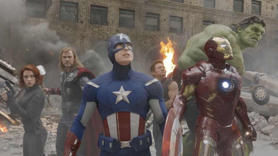 """Captain America (center, played by Chris Evans in """"The Avengers"""") is one of many superheroes who have been killed off only to be resurrected."""