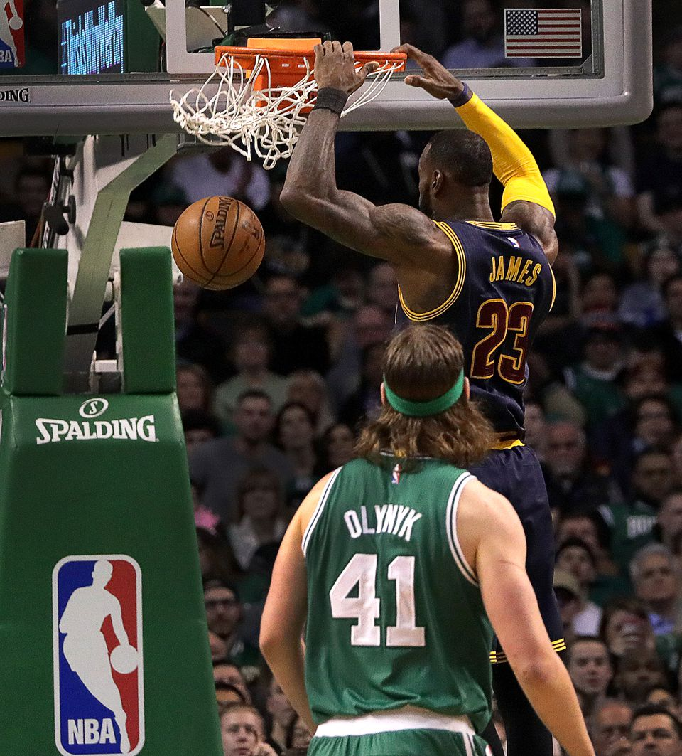 LeBron James, untouchable most of the night, dunked in the second quarter for 2 of his game-high 36 points.