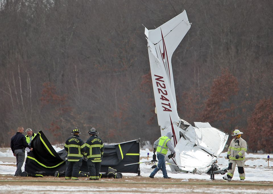 Emergency personnel were at the Mansfield Municipal Airport.