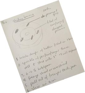 Chang's original handwritten recipe for sticky buns, complete with diagrammed pecan placement.