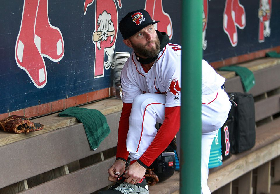 115e3ef18dd2c Dustin Pedroia before a rehab assignment game with the Portland Sea Dogs.  He s played in