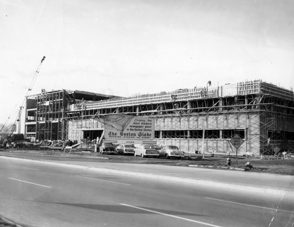 In October 1957, the new Boston Globe building at 135 Morrissey Blvd. was taking shape.