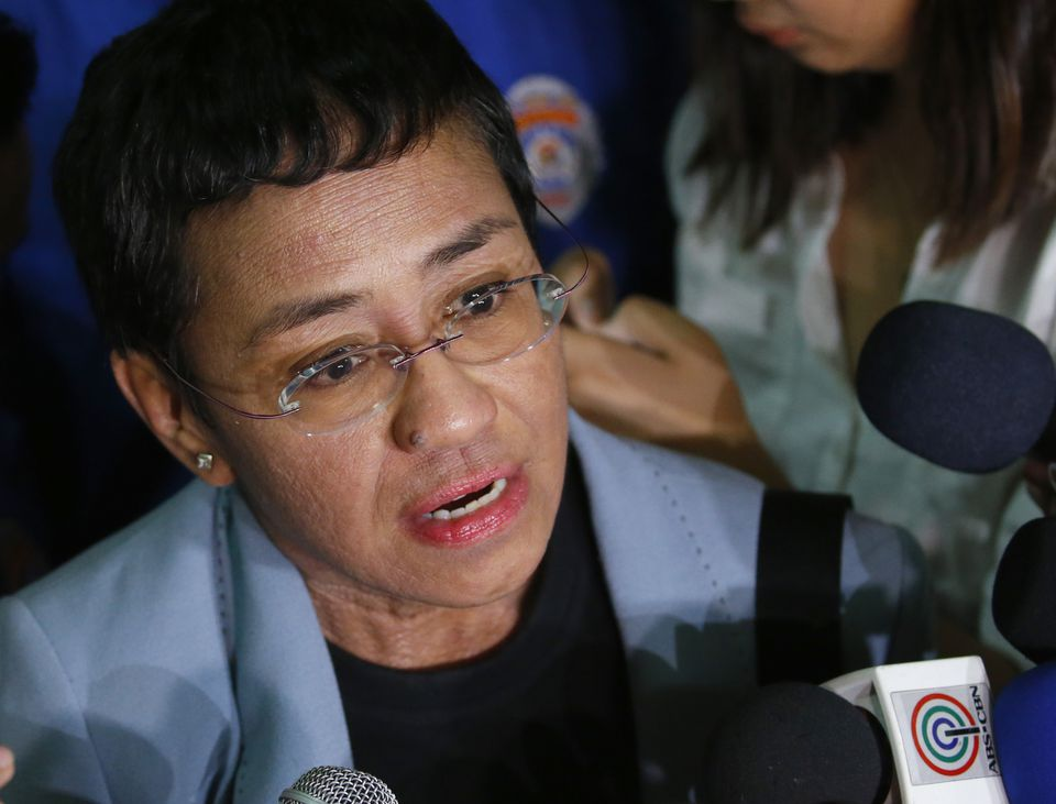 Maria Ressa, the award-winning head of a Philippine online news site Rappler, talked to the media after posting bail at a Regional Trial Court following an overnight arrest by National Bureau of Investigation agents on a libel case in Manila, Philippines.