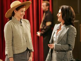 """WILL & GRACE -- NBC Series -- """"Von Trapped"""" -- Pictured: (l-r) Debra Messing as Grace, Megan Mullally as Karen -- NBC Entertainment Photo: Chris Haston FOR EDITORIAL USE ONLY -- DO NOT RE-SELL/DO NOT ARCHIVE 13crit Library Tag 04132006 Sidekick 03tvpregnant"""