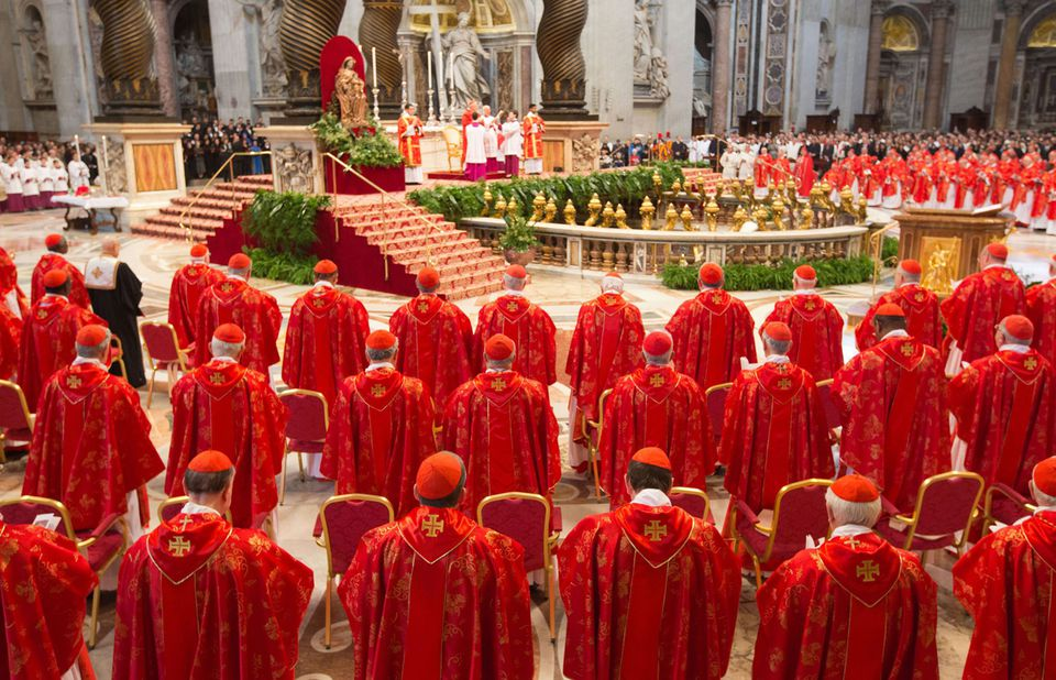 Cardinals attend Mass at Saint Peter's Basilica in the Vatican on March 12, 2013.