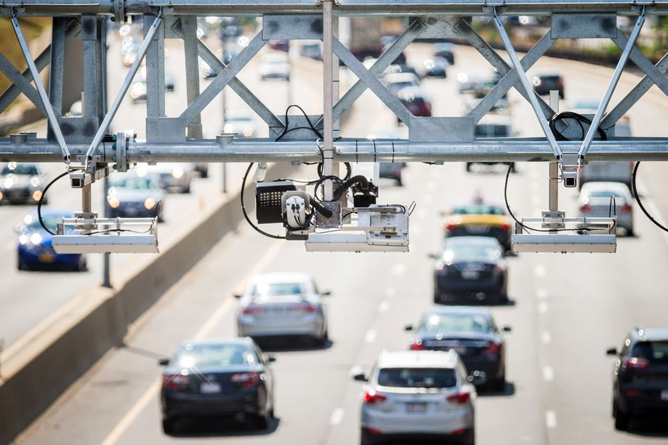 An All Electronic Tolling (AET) gantry on the Mass. Pike.