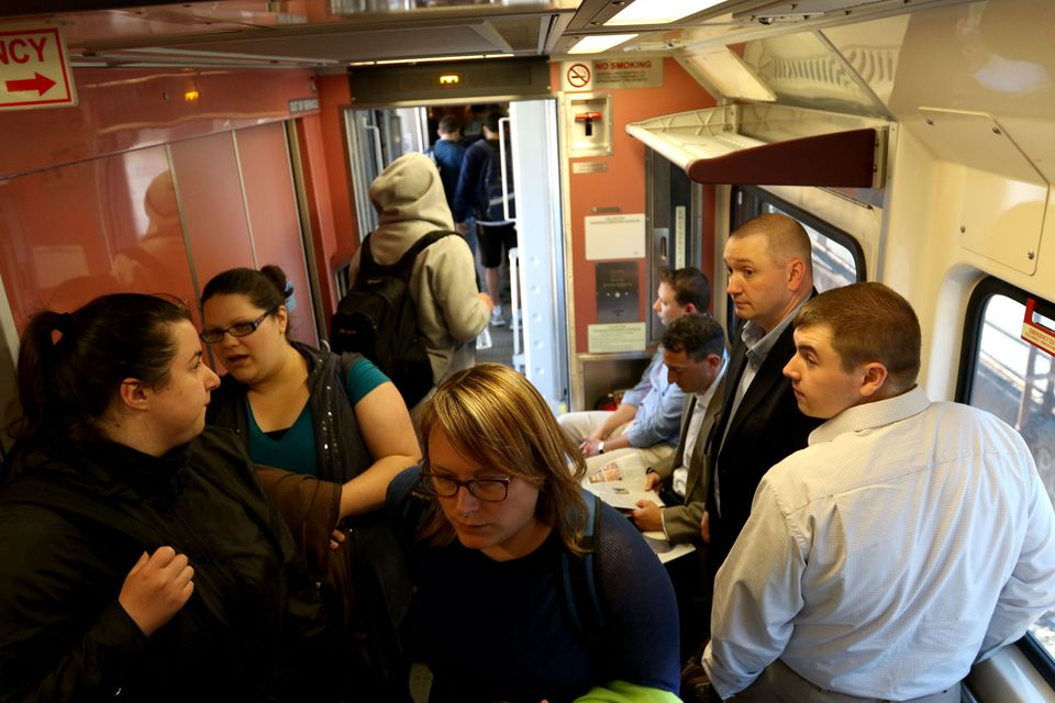 It was standing room only for passengers on the Framingham/Worcester Line from South Station last Thursday.