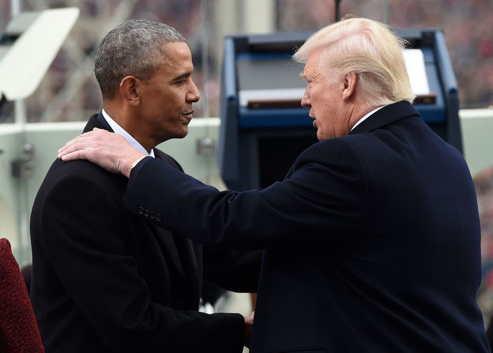 Barack Obama and Trump shook hands during the presidential inauguration.