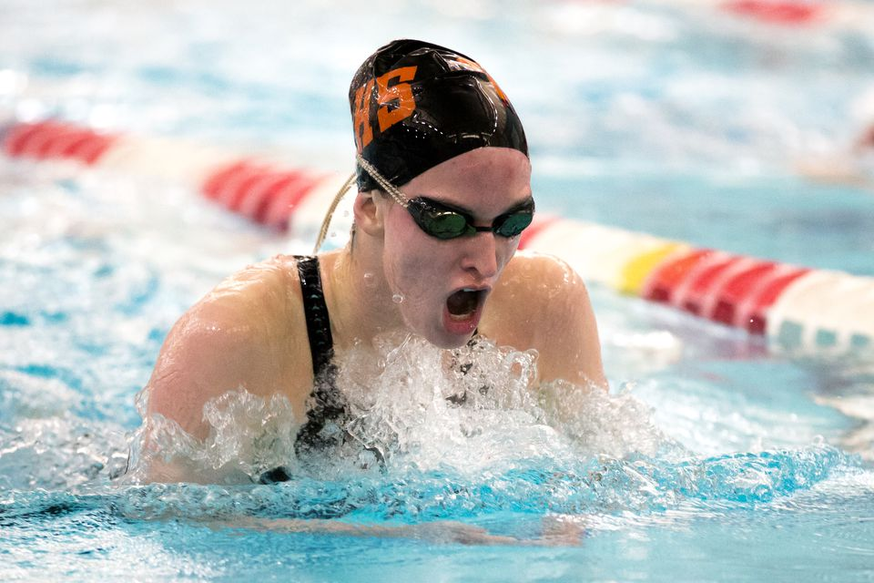 Sarah Welch of Beverly won the 200 individual medley and the 100 freestyle at the Division 1 girls' swimming championships.