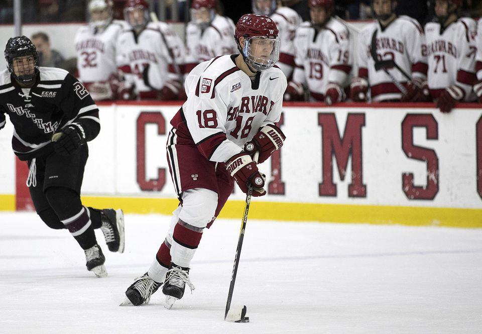 Adam Fox has 15 goals and 31 assists for Harvard this season.