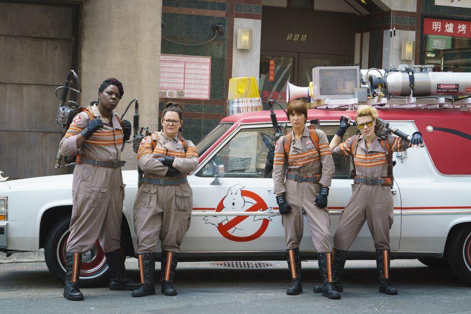 """Ghostbusters"" castmates (from left) Leslie Jones, Melissa McCarthy, Kristen Wiig, and Kate McKinnon."