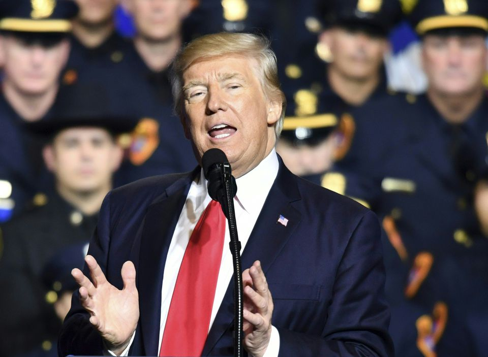 President Trump delivered remarks on law enforcement at Suffolk Community College on Friday.