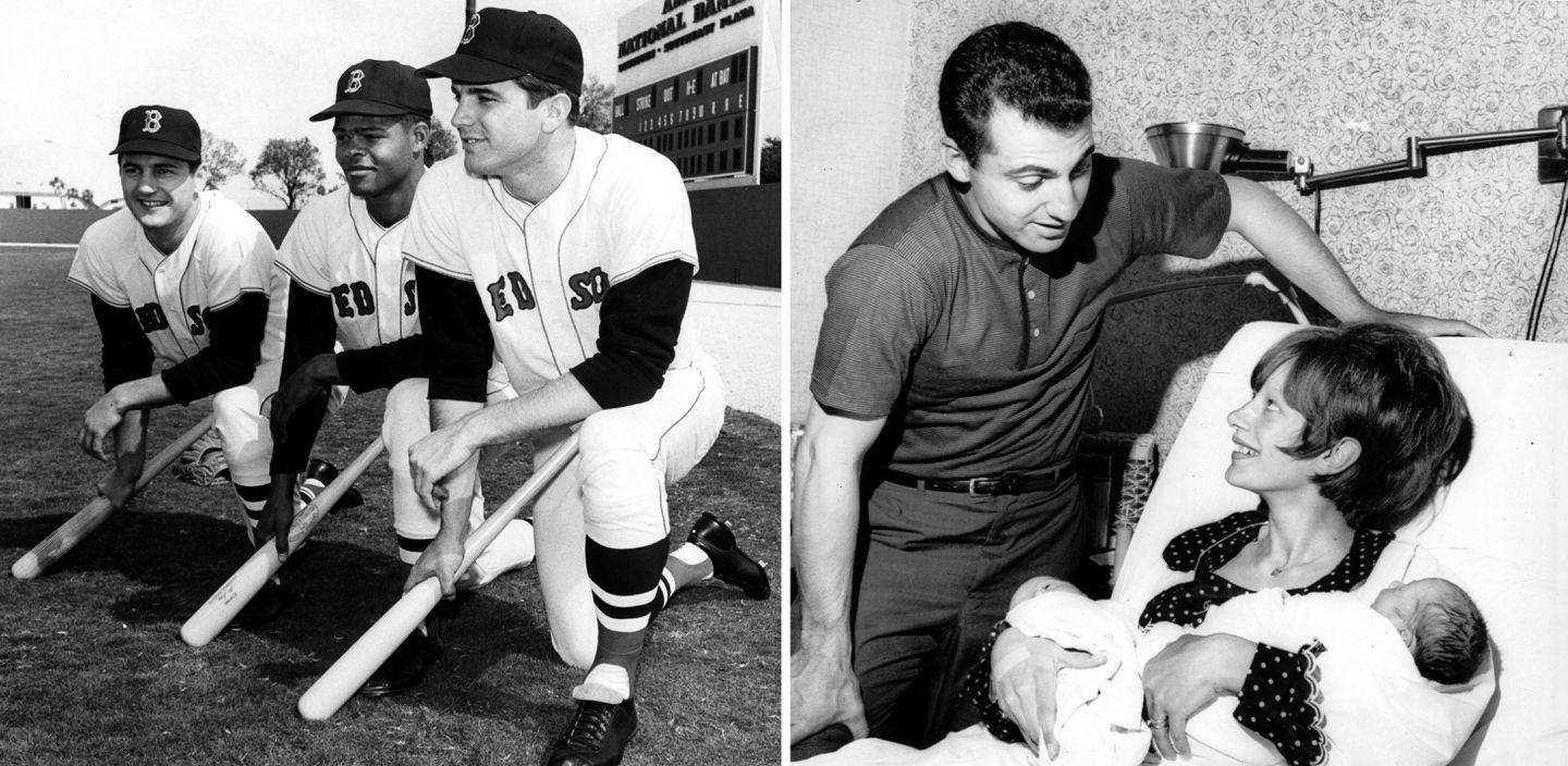 Much of the thump in the lineup for the first part of 1967 was provided by (from left) outfielders Carl Yastrzemski, Reggie Smith, and Tony Conigliaro.  Rico Petrocelli visited his newborn twin sons, James and William, and his wife, Elsie, at Lynn Union Hospital on June 8.  The shortstop would have the key hit of Opening Day, Game 1, and clutch the final out of magical Game 162.