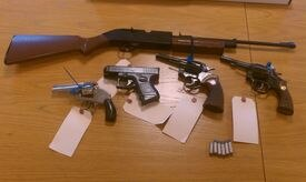 Weapons were found while workers were renovating the ceiling of a home formerly owned by Anthony D'Agostino, who may have been an enforcer for the Winter Hill Gang.