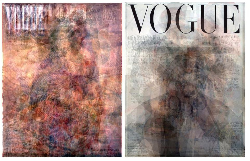Layered transparencies of Vogue covers from 1940 (left) and 1950 (right).
