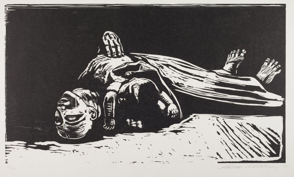 "Kathe Kollwitz's ""Die Witwe II (The Widow II),"" from her ""Krieg Cycle"" at the Davis Museum at Wellesley College."