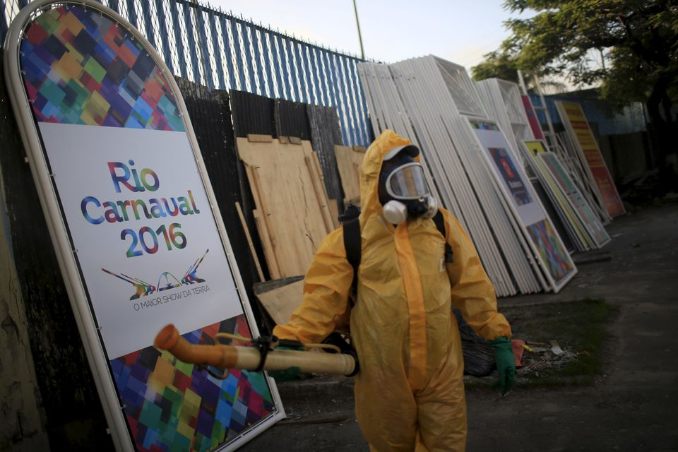 A municipal worker sprayed insecticide at Sambodrome in Rio de Janeiro.