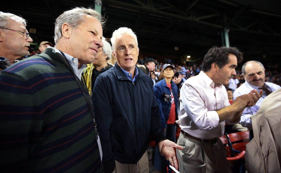 "Ben Bradlee Jr (left) talked with John Slattery when ""Spotlight"" was filming at Fenway Park in 2014."