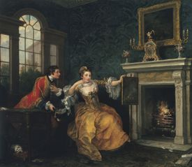 """William Hogarth's """"The Lady's Last Stake """" at the MFA."""