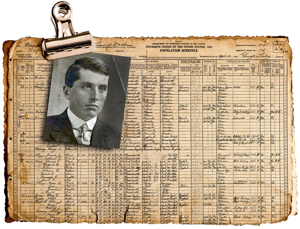 A photograph of Gerald Walsh is attached to his listing in a 1930 Census ledger.