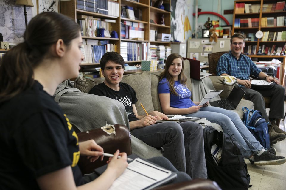 From left: Hannah Zimmerman, Sawyer Lachance, Charlotte McCulloh, and George Johnson at a literature class at the Maine School of Science and Mathematics.