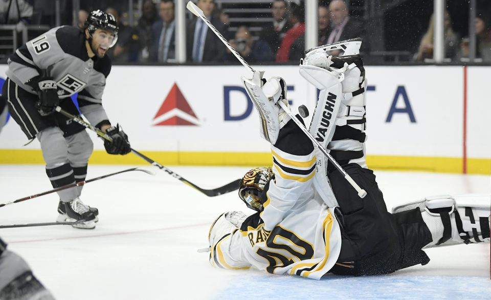 Bruins goaltender Tuukka Rask stops a shot by Kings left wing Alex Iafallo in the second period.