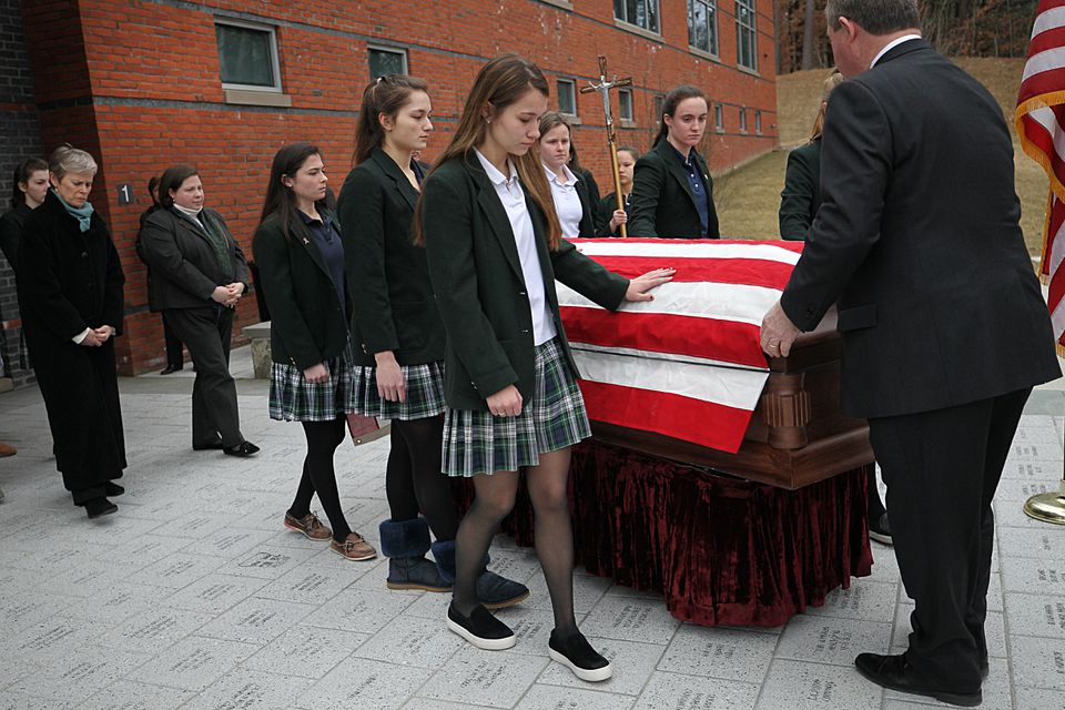 Ursuline Academy students were pallbearers for veteran Douglas W. Benson, who died without any known family.