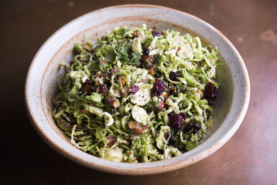 Shaved Brussels sprouts with browned-butter vinaigrette.