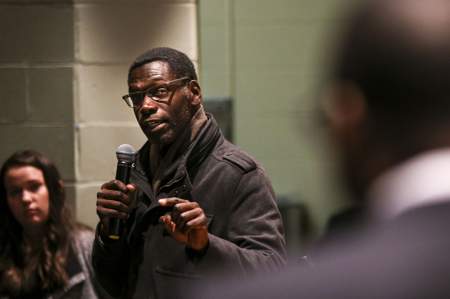 Chauncy Spencer addressed Tito Jackson at a community meeting about Jackson's proposed pot shop in Mattapan Square.
