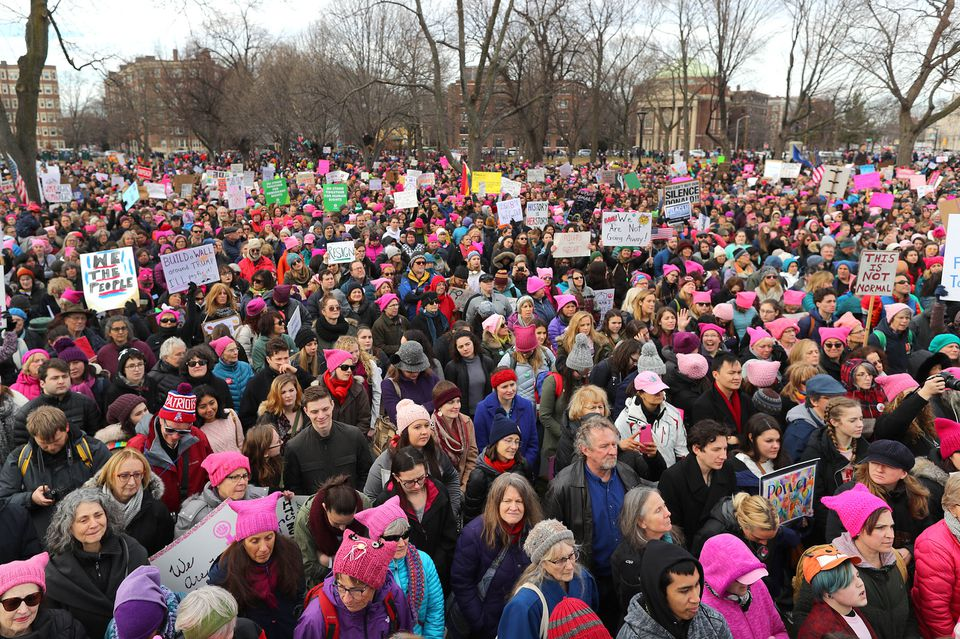 Thousands filled Cambridge Common on Jan. 20 for the anniversary of the larger Women's March in Washington in 2017.