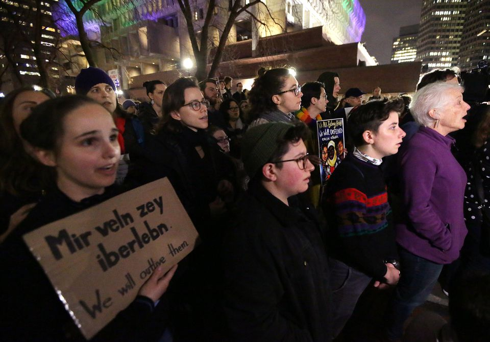 Hundreds gathered at the New England Holocaust Memorial in Boston Thursday night.