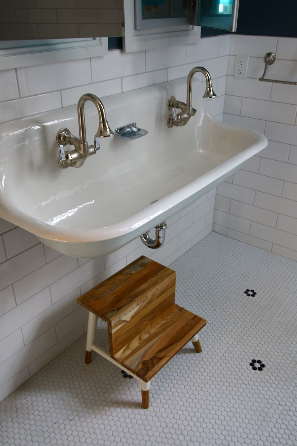 """Daughter Sophie's bathroom features a """"Brockway"""" wash sink and """"Cannock"""" faucets, both by Kohler."""