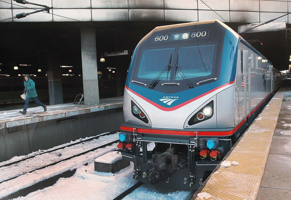 The first of a new Amtrak fleet of locomotives left Boston's South Station Friday morning.