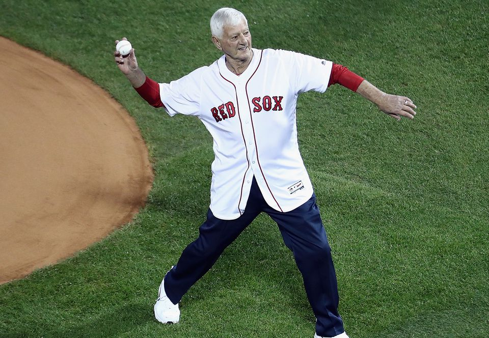 "Yaz throws out the first pitch before Game 1 of the World Series last October. ""I'm undefeated!"" he says."
