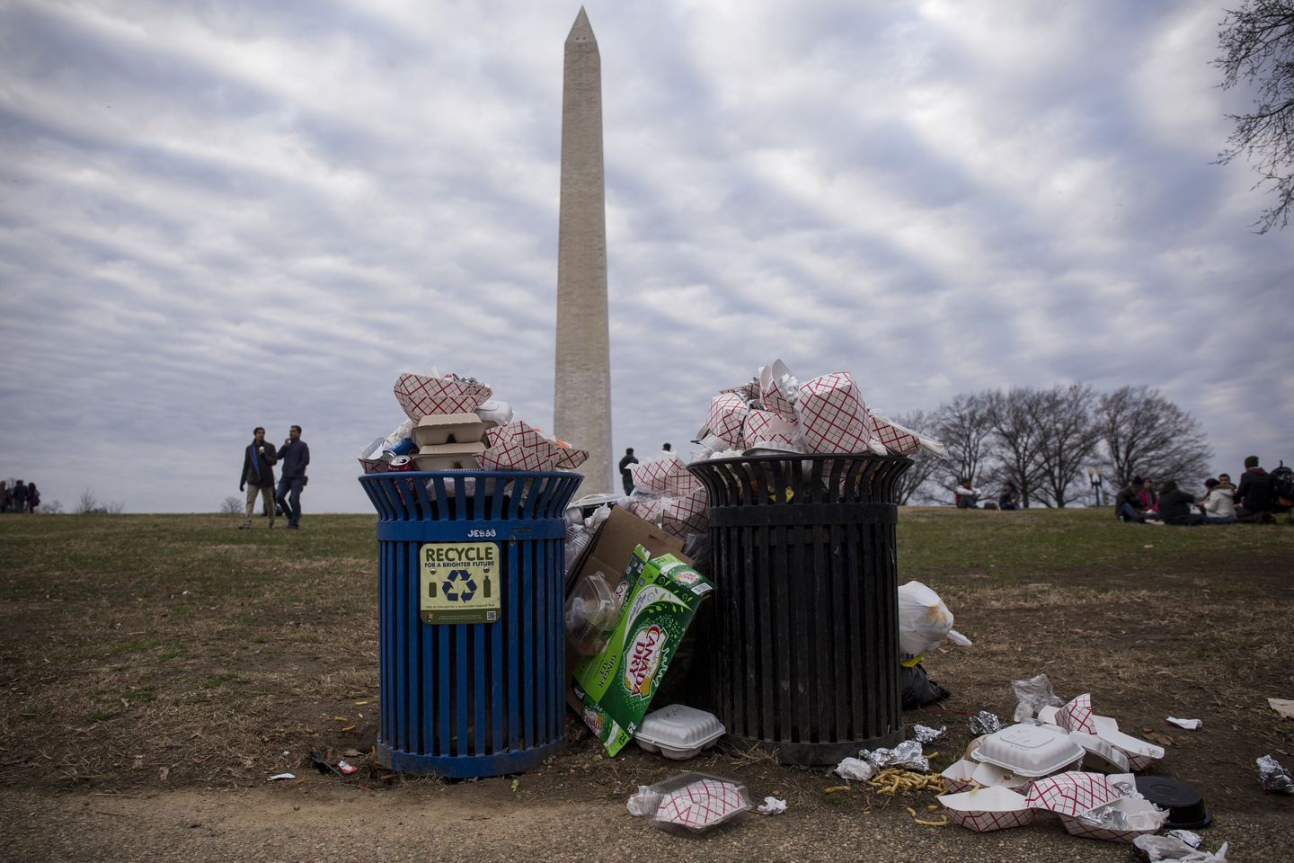 Uncollected garbage stood near the Washington Monument on the National Mall in Washington, D.C.