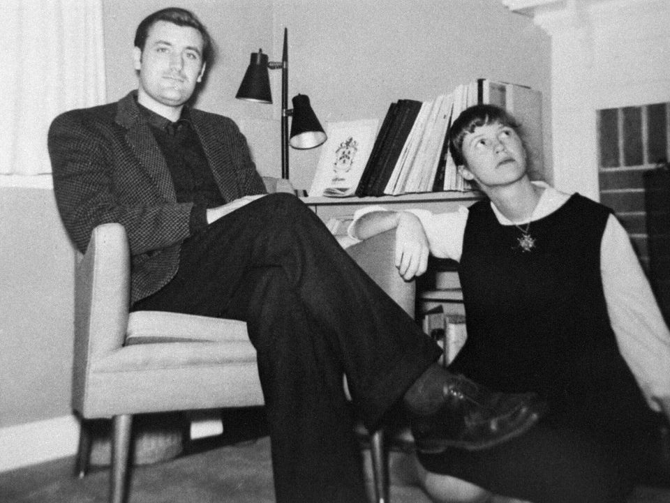 Ted Hughes and Sylvia Plath in Concord in December 1959, shortly before moving to England.