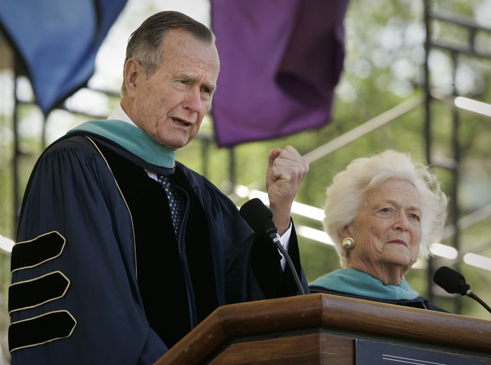 Months after George H.W. Bush called George Washington University hoping to help a prospective student gain admission — it worked — Bush and his wife, Barbara, spoke at the university's commencement.